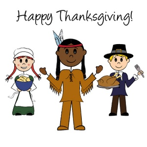 A_male_and_female_pilgrim_holding_food_while_standing_next_to_an_indian_brave_on_thanksgiving_0515-0911-1000-3720_SMU